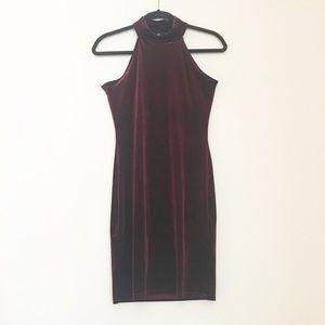 Missguided Mock Neck Red Velvet Dress